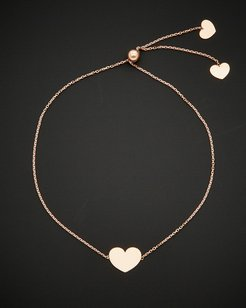 14K Italian Rose Gold Adjustable Heart Bracelet