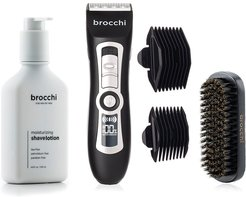 BROCCHI Electric Trimmer, Boar Bristle Beard Brush & Moisturizing Shave Lotion Bundle