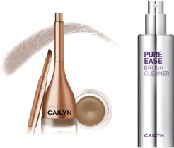 Cailyn Cosmetics Ebony Gelux Waterproof Brow Pomade with Built-in Liner Brush