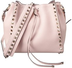 Valentino Rockstud Grainy Leather Bucket Bag