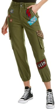 alice + olivia High-Waist Patchwork Embroidered Cargo Pant