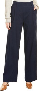 Vince Pleated Pull-On Linen-Blend Pant