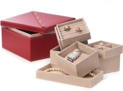 Bey-Berk Studded Leather Two Level Jewelry Box