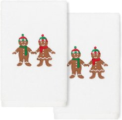 Linum Home Textiles Christmas Gingerbread White Hand Towels (Set Of 2)
