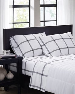 Truly Soft Printed Windowpane White Charcoal Sheet Set