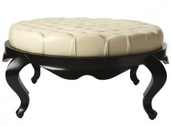 Butler Gervais White Leather Round Cocktail Ottoman