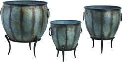 Set of 3 Transpac Metal Silver Spring Rustic Oblong Standing Containers