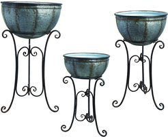 Set of 3 Transpac Metal Silver Spring Rustic Round Standing Containers
