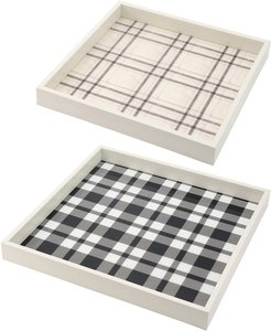 R16 Home Plaid White Decorative Tray (Set of 2)