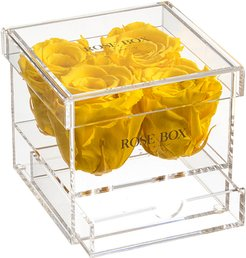 Rose Box NYC 4 Bright Yellow Roses Jewelry Box