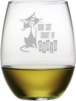 Susquehanna Glass One Cat Short Stemless Wine & Gift Box