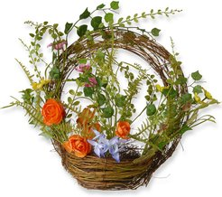 National Tree 16in Spring Wreath with Basket