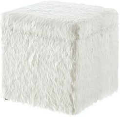 Inspired Home White Faux Fur Ottoman