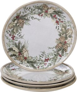 Certified International Set of 4 Holly and Ivy Dinner Plates