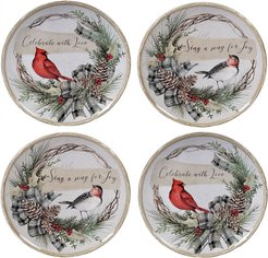 Certified International Set of 4 Holly and Ivy Dessert Plates