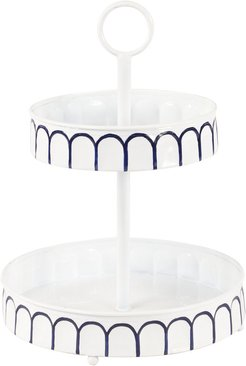 UMA Small White Metal 2-Tier Round Serving Tray Stand