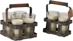 BIDKhome Filled Candle 4 T-lights in Holder Pomegranite Scent