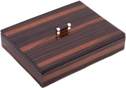 Bey-Berk Ebony Lacquered Burl Wood Tray with Cover