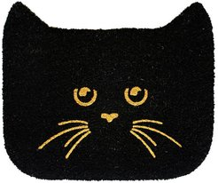 RugSmith Black Glitter Shaped Cat Doormat