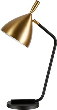 Abraham + Ivy Yossi Blackened Bronze Table Lamp with Brass Finish Shade