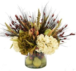 Creative Displays Fall Autumn Floral In Pear Glass