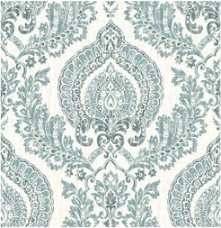 NuWallpaper Kensington Damask Blue Peel & Stick Wallpaper