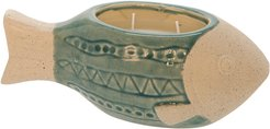 Sagebrook Home Fish Pot Scented Candle by Liv & Skye Turquoise