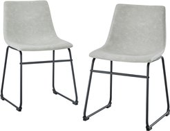 Set of 2 18in Faux Leather Dining Chair