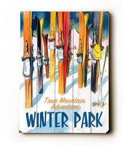 Winter Park With Skiis Solid Wood Wall Decor By Posters Please