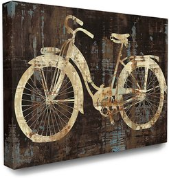 Stupell The Stupell Home Decor Collection Black Tan and Blue Distressed Bicycle Silhouette