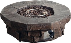 Peaktop Outdoor Round Stone Look Propane Gas Fire Pit