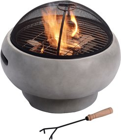 """Peaktop Outdoor 21"""" Round Concrete Wood Burning Fire Pit"""