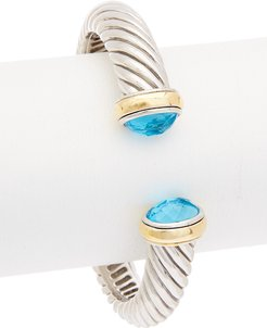 Juvell 18K Two-Tone Plated Blue Topaz Bangle