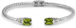 Samuel B. Jewelry 18K & Sterling Silver 3.20 ct. tw. Peridot Twisted Cable Bangle Bracelet