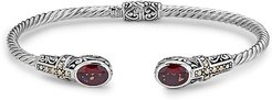 Samuel B. Jewelry 18K & Sterling Silver 2.90 ct. tw. Garnet Hinged Cross Bangle Bracelet
