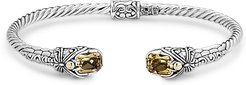 Samuel B. Jewelry 18K & Sterling Silver 3.60 ct. tw. Citrine Hinged Dragonfly Bangle Bracelet