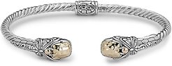 Samuel B. Jewelry 18K & Sterling Silver Hinged Dragonfly Bangle Bracelet