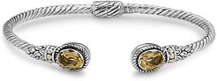 Samuel B. Jewelry 18K & Sterling Silver 2.30 ct. tw. Citrine Twisted Cable Bangle Bracelet