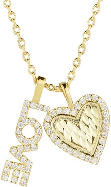 Sphera Milano Plated Love And Heart Charm Necklace