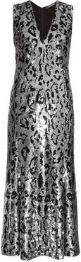 Leopard-print Sequin-embellished Midi Gown - Womens - Silver