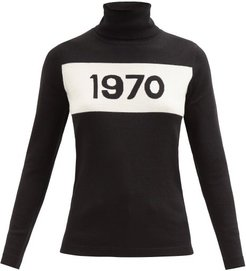 1970-intarsia Wool Sweater - Womens - Black