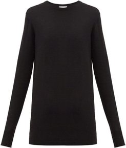Long-line Fine-knit Cashmere Sweater - Womens - Black