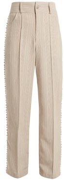Blow Crystal-embellished Wide-leg Cotton Trousers - Womens - Grey Multi