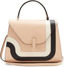 Iside Medium Striped Grained-leather Bag - Womens - Light Pink