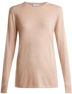 Long-line Fine-knit Cashmere Sweater - Womens - Pale Pink