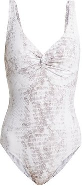 Core Knotted Snake-print Swimsuit - Womens - Python