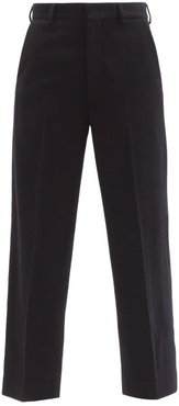 Flood-crop Wool-twill Tailored Trousers - Womens - Navy