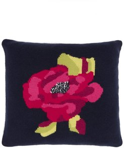 Rose-intarsia Cashmere Cushion - Navy