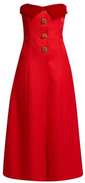 Strapless Silk And Wool-blend Midi Dress - Womens - Red
