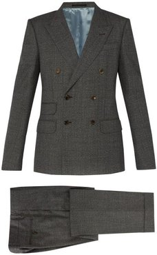 Double-breasted Wool Suit - Mens - Grey